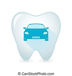 Tooth icon with a car - Illustration of an isolated tooth...