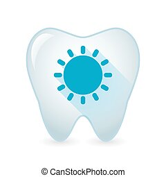 Tooth icon with a sun