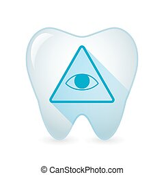 Tooth icon with an all seeing eye - Illustration of an...