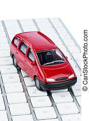 car on copmputertastatur - car on keyboard, symbol photo for...