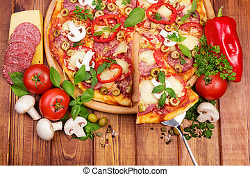 Tasty Supreme Pizza - Supreme Pizza with tasty slice on...