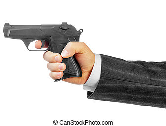 Male hand with gun isolated on white background