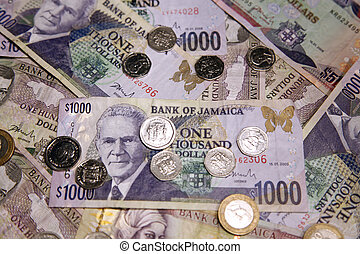 Jamaican Currency - A display of various Jamaican paper and...