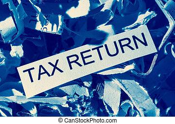 shredded paper tax return - papierschnitzel tagged tax...