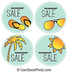 Summer sale stickers - Summer sale blue stickers Vector...