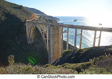 Bixby bridge - a historic Bixby bridge along coastline...