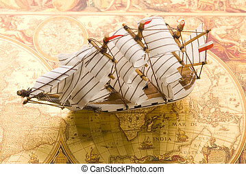 sailing ship - Sailing ship on map