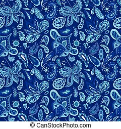 Blue Fresh Indian Vector Pattern - Seamless ethnic...