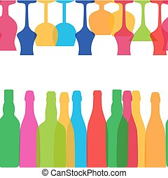 Vector Illustration of Silhouette Alcohol Bottle Seamless...
