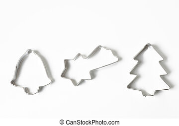 cookie cutters on white background