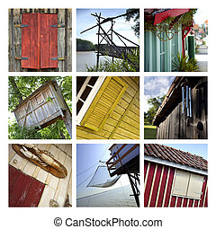 Huts - Rustic wooden huts and chalets on a collage