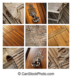 Woodwork and close up of wooden furniture on a collage