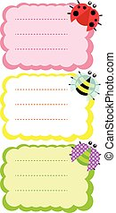 Labels with bee, dotted bug and lad - Set of labels with...