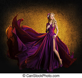 Model Purple Dress, Woman Posing Flying Silk Cloth Waving...
