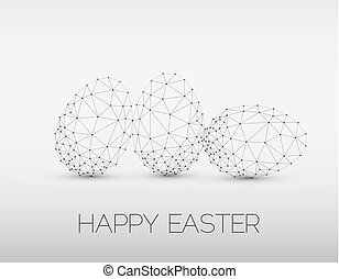 Minimalistic geometric vector Happy Easter card - Simple...