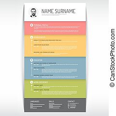 cv resume template - Vector minimalist cv resume template...