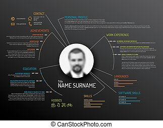 Original cv resume template - Vector original minimalist cv...