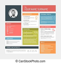 cv / resume template dashboard - Vector minimalist cv /...