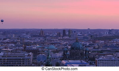 berlin skyline at sunset dusk - berlin cityscape skyline at...