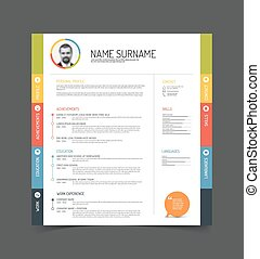 cv resume template - Vector minimalist cv resume template -...