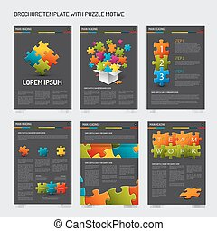 Set of modern brochure flyer design templates with puzzle...
