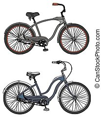 Classic bicycles - Hand drawing of two classic bicycles -...