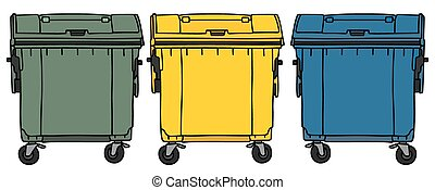 Recycling containers - Hand drawing of three color recycling...