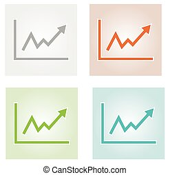 growing graph icons - four growing graph icons with...