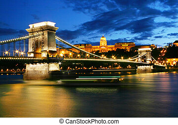 Chain Bridge - Budapest Chain Bridge and Royal palace at...