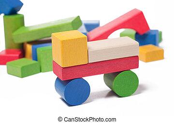 madeira,  car, brinquedo, blocos, coloridos