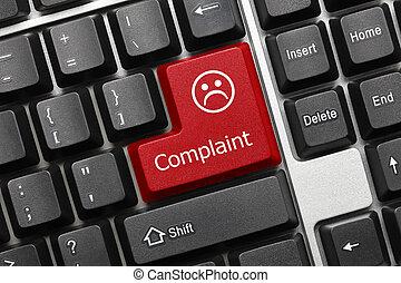 Conceitual, teclado, -, queixa, (red, key),