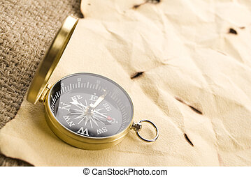 Old letter - A beautiful old compass on an old letter