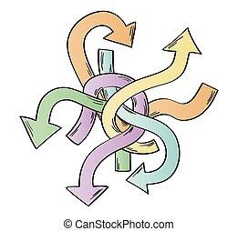 many arrows - many ways - tangle of arrows as symbol of many...