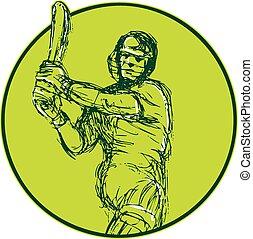 Cricket Player Batsman Batting Drawing - Drawing...
