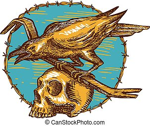 Crow Perching Crowbar Skull Barbed Wire Drawing - Drawing...
