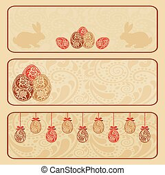 Vintage Easter horizontal banner set.