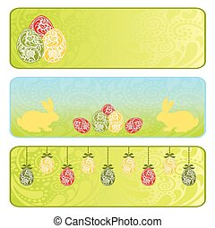 Easter horizontal banner set with Easter eggs and rabbit.