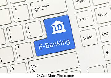 White conceptual keyboard - E-Banking (blue key) - Close-up...