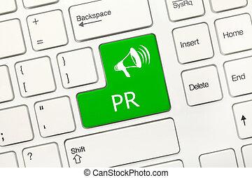 White conceptual keyboard - PR (green key) - Close-up view...
