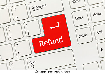 White conceptual keyboard - Refund (red key) - Close-up view...