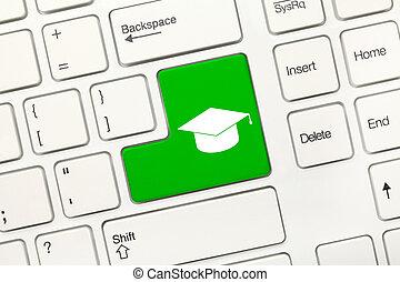 blanco, conceptual, teclado, -, verde, llave, con,...
