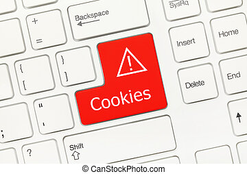 White conceptual keyboard - Cookies (red key) - Close-up...