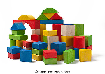 city of colorful wooden toy blocks isolated on white...