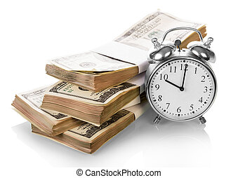 Dollar Money bills with clock on white background