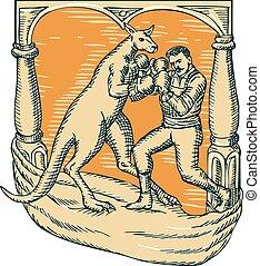 Kangaroo Boxing Man Etching
