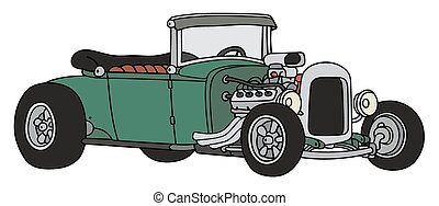 Green hot rod - Hand drawing of a funny vintage green...
