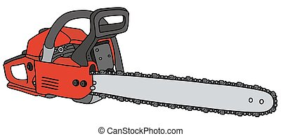 Red chainsaw - Hand drawing of a red chainsaw - not a real...