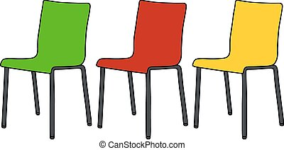 Color chairs - Hand drawing of three modern color chairs