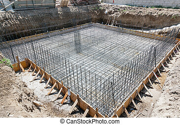 Foundation of a new house. - Foundation of a new house with...