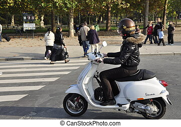 White Moped in Paris, France